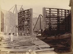 View of sea-gates from inside of dock looking eastward [Victoria Dock construction, Bombay].